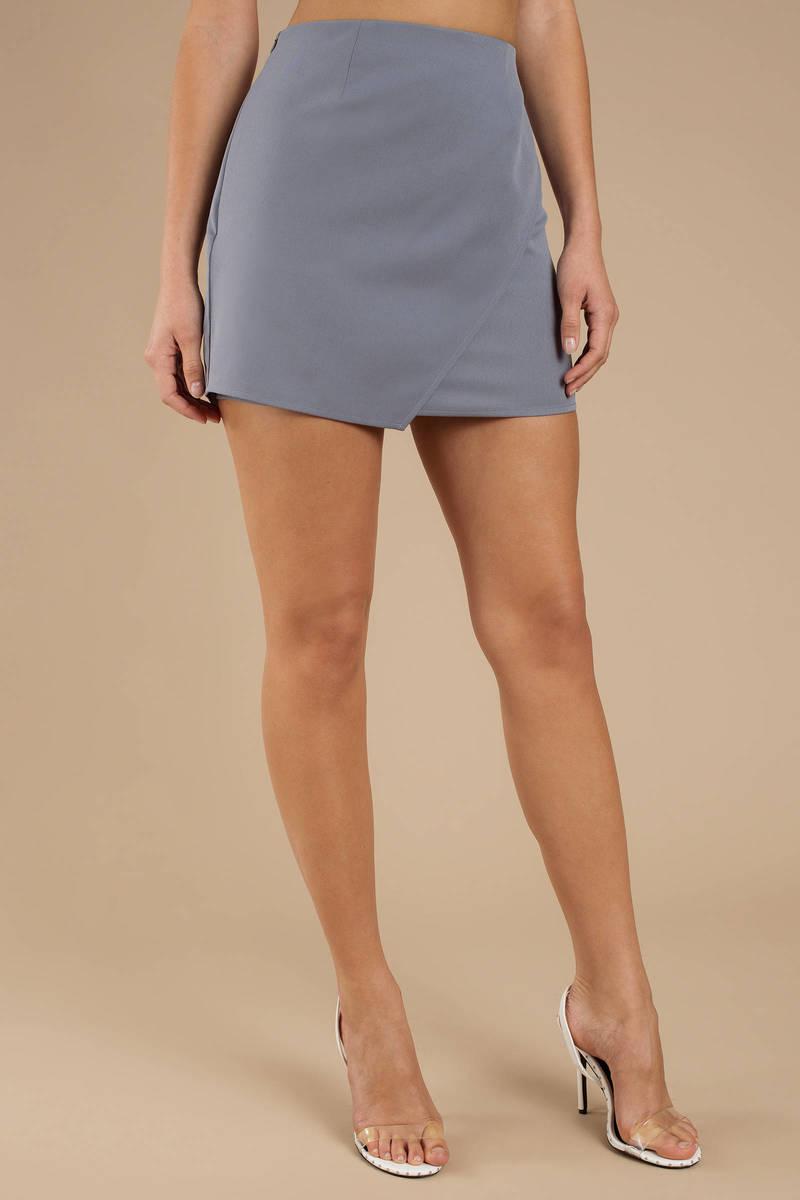 e870d056a6 Grey Mini Skirt - Asymmetrical Skirt - Grey Wrap Skirt -  24