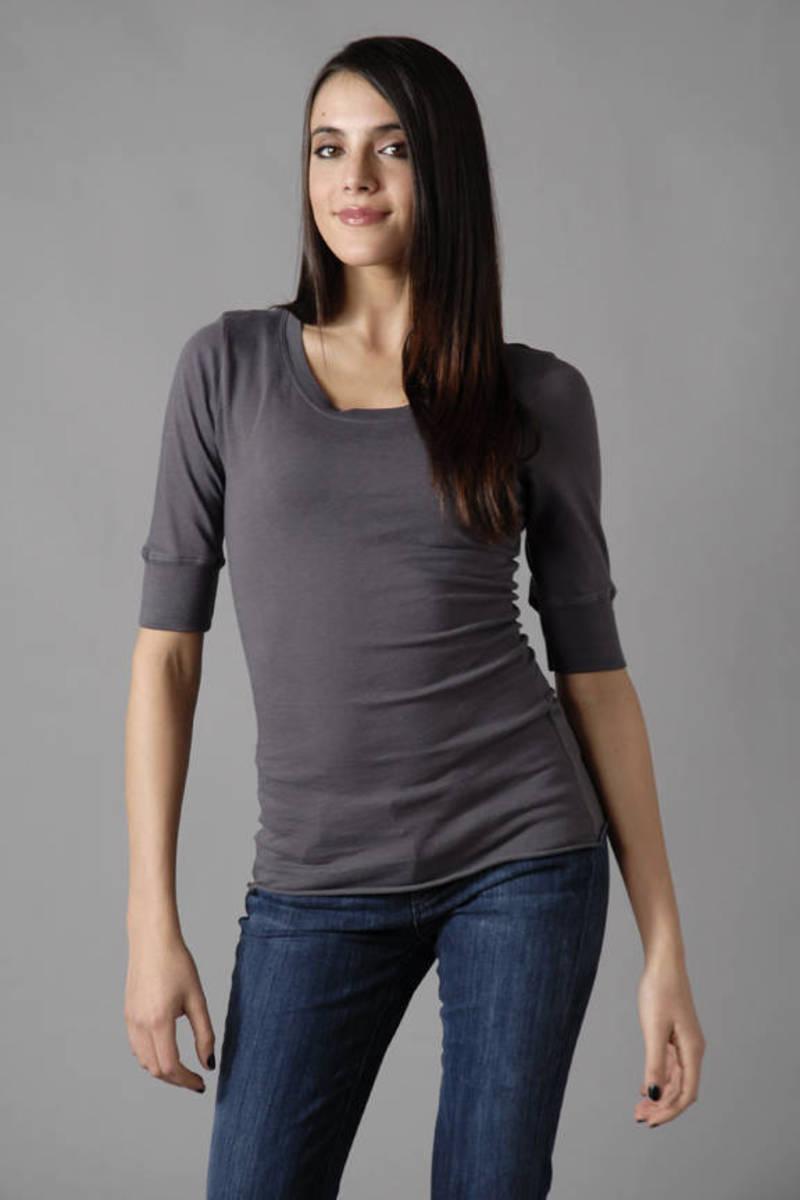 633df037981515 Trendy Grey Tee - Crew Neck Shirt - Grey Tunic Top - Casual Shirt ...