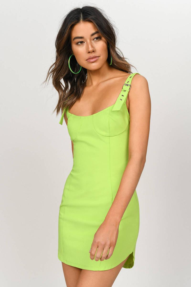 11443051409d Kiki Slime Green Buckle Strap Bodycon Dress - $98 | Tobi US