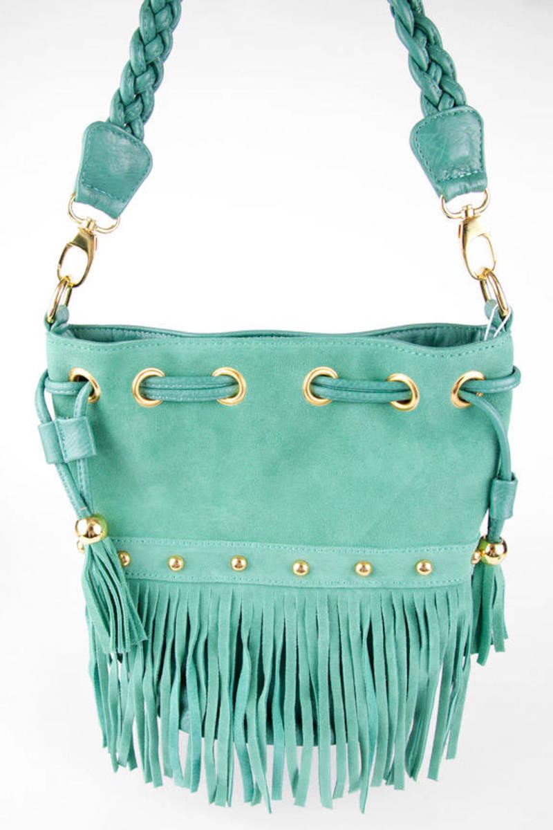 Braided Fringe Bucket Bag