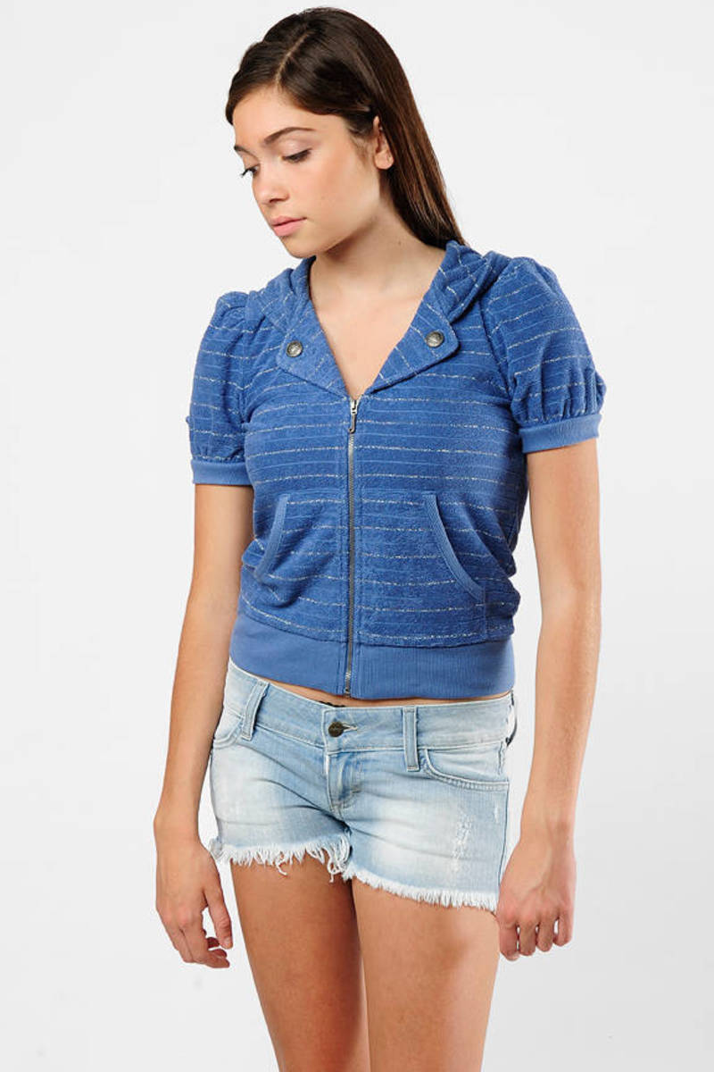 2617730753 Blue Hoodie - Terry Hoodie With Pockets - Blue Striped Short Sleeve ...