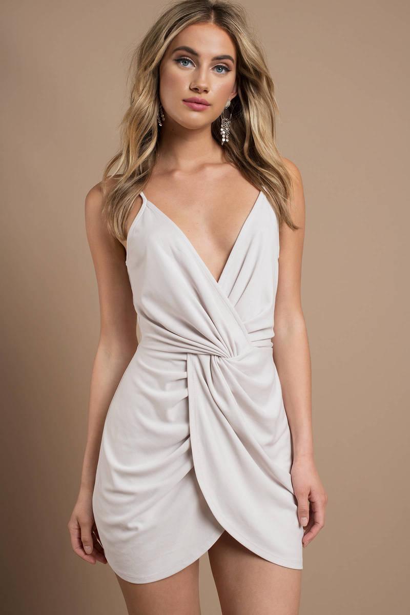 801b749069 Beige Bodycon Dress - Twist Front Dress - Short Beige Formal Dress ...