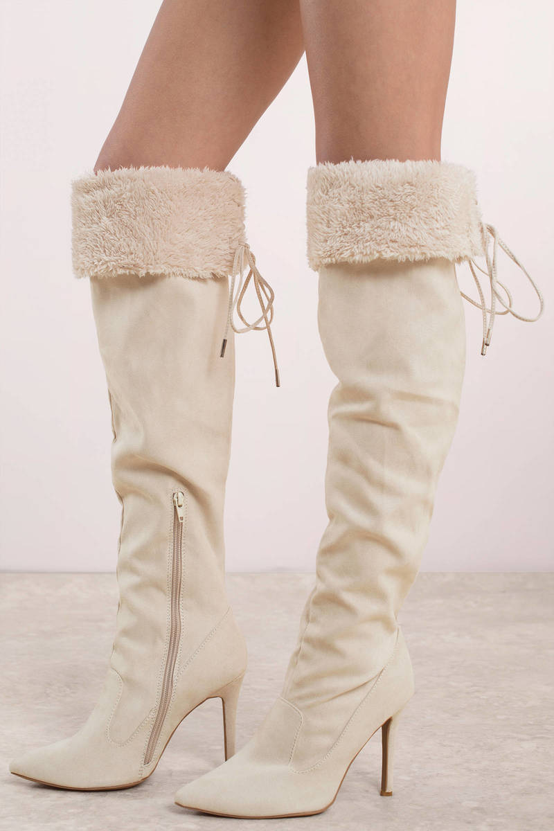 65555ea3bda Nude Boots - Stiletto Heeled Winter Boots - White Faux Fur Boots ...