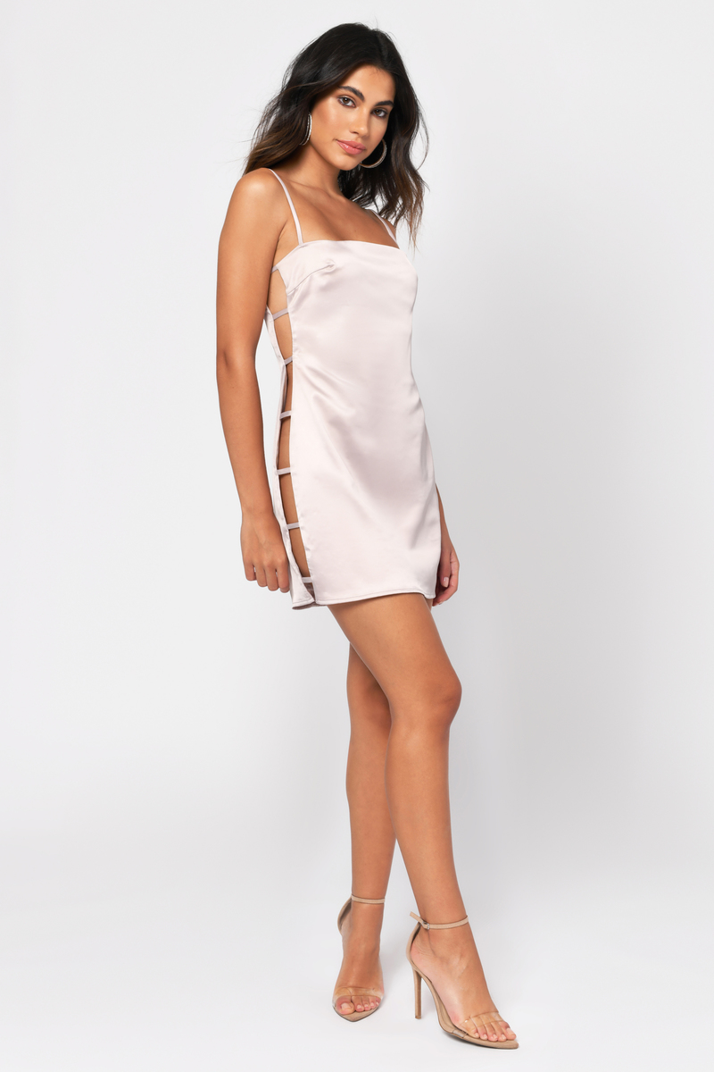 0af8871f21b Beige Bodycon Dress - Satin Dress - Beige Side Cutout Dress - $20 ...