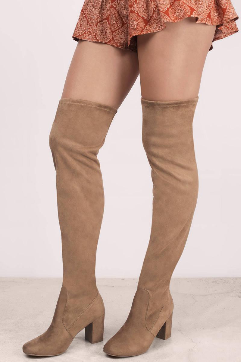 Suedette Camel Boots - Brown Boots - Over The Knee Boots - $100.00