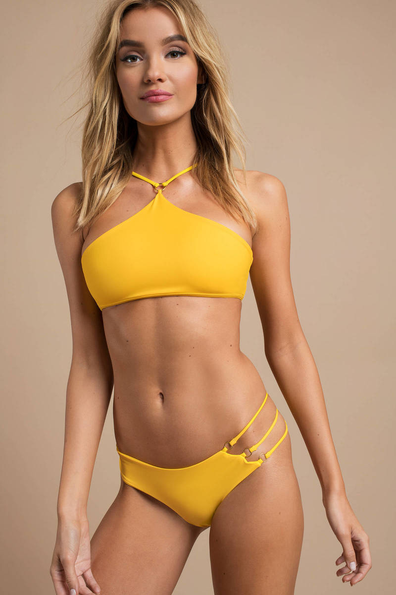 aca071001474d4 Yellow Bikini Bottom - Sexy High Waisted Bathing Suits - Yellow ...