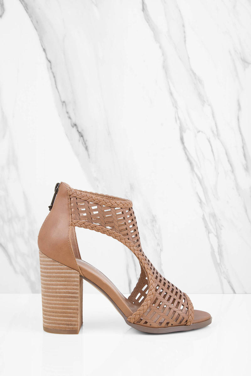 Report Footwear Beecher Tan Peep Toe Heels