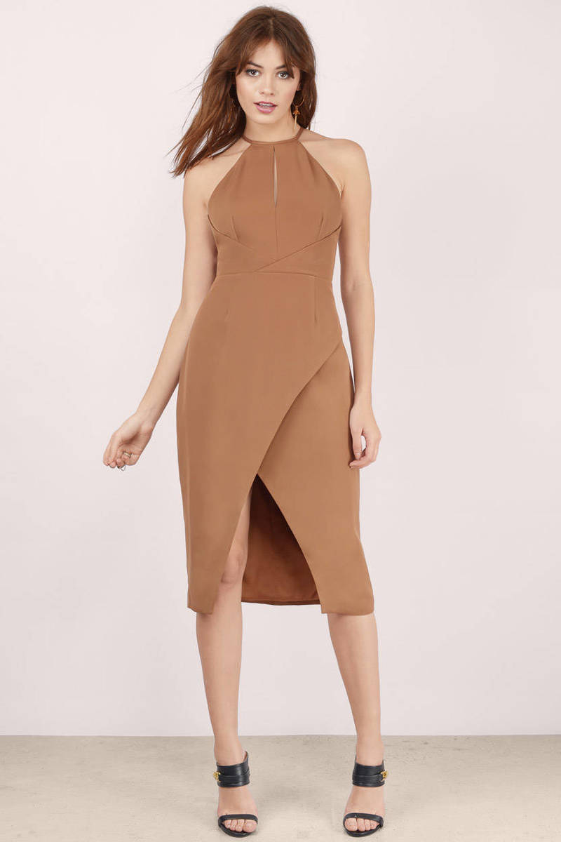 Finders Keepers Finders Keepers Guilty Pleasure Tan Wrap Midi Dress