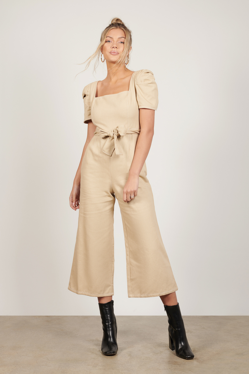 Mary Puff Sleeve Cropped Jumpsuit