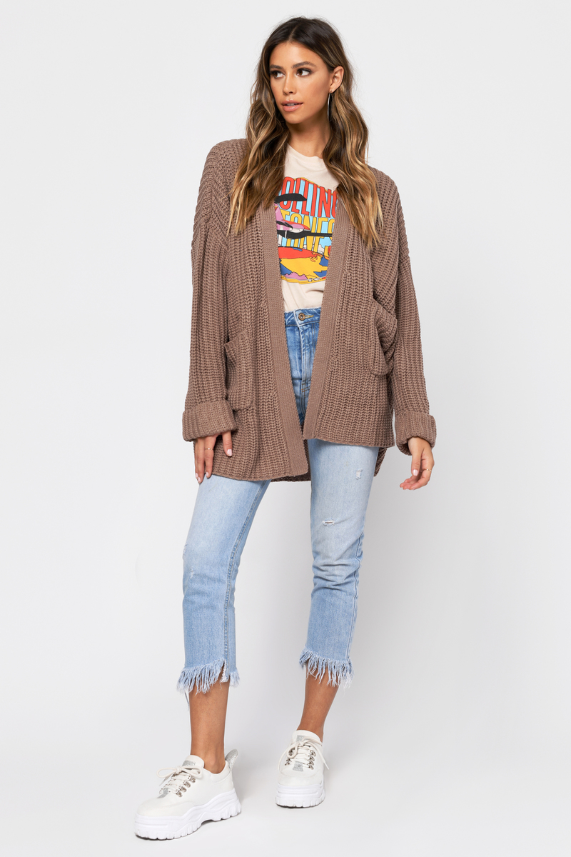 Brown Cardigan - Cable Knit Cardigan - Brown Oversized Chunky Knit ... eb6a0a05c