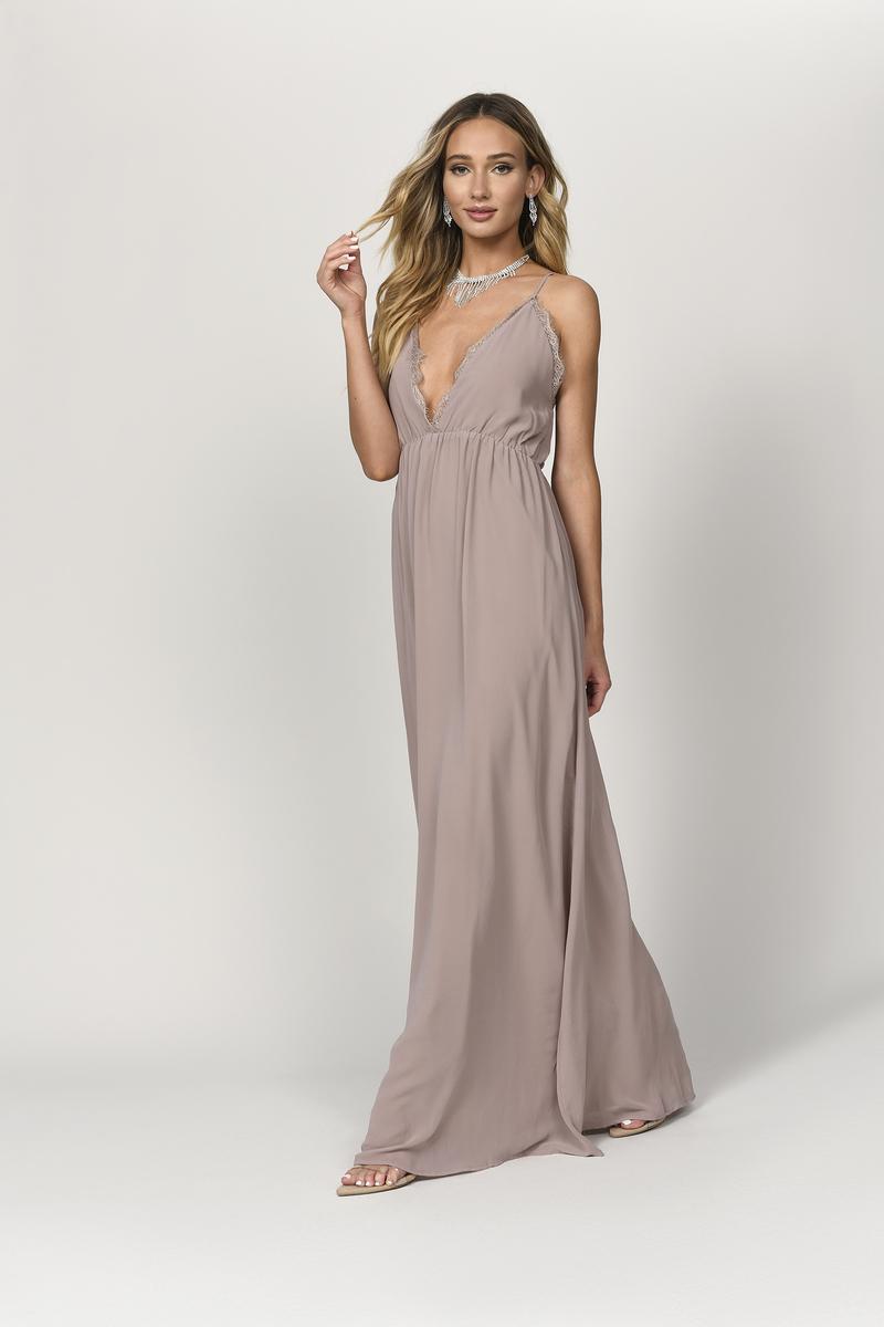7fa556cb65 Beige Maxi Dress - Plunging Maxi Dress - Beige Formal Dress - $35 ...