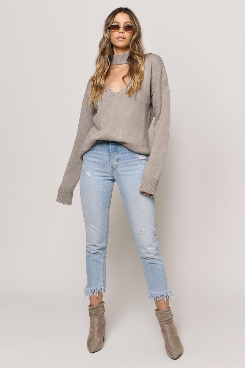 7635d1795828 Trendy Beige Sweater - Cozy Sweater - Beige Choker Sweater - $36 ...