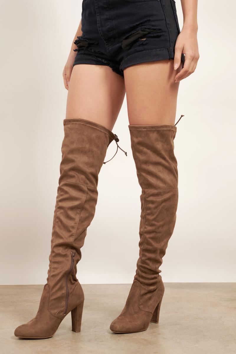 da680b727 Amaya Taupe Suede Knee High Boots - AU$ 45 | Tobi AU