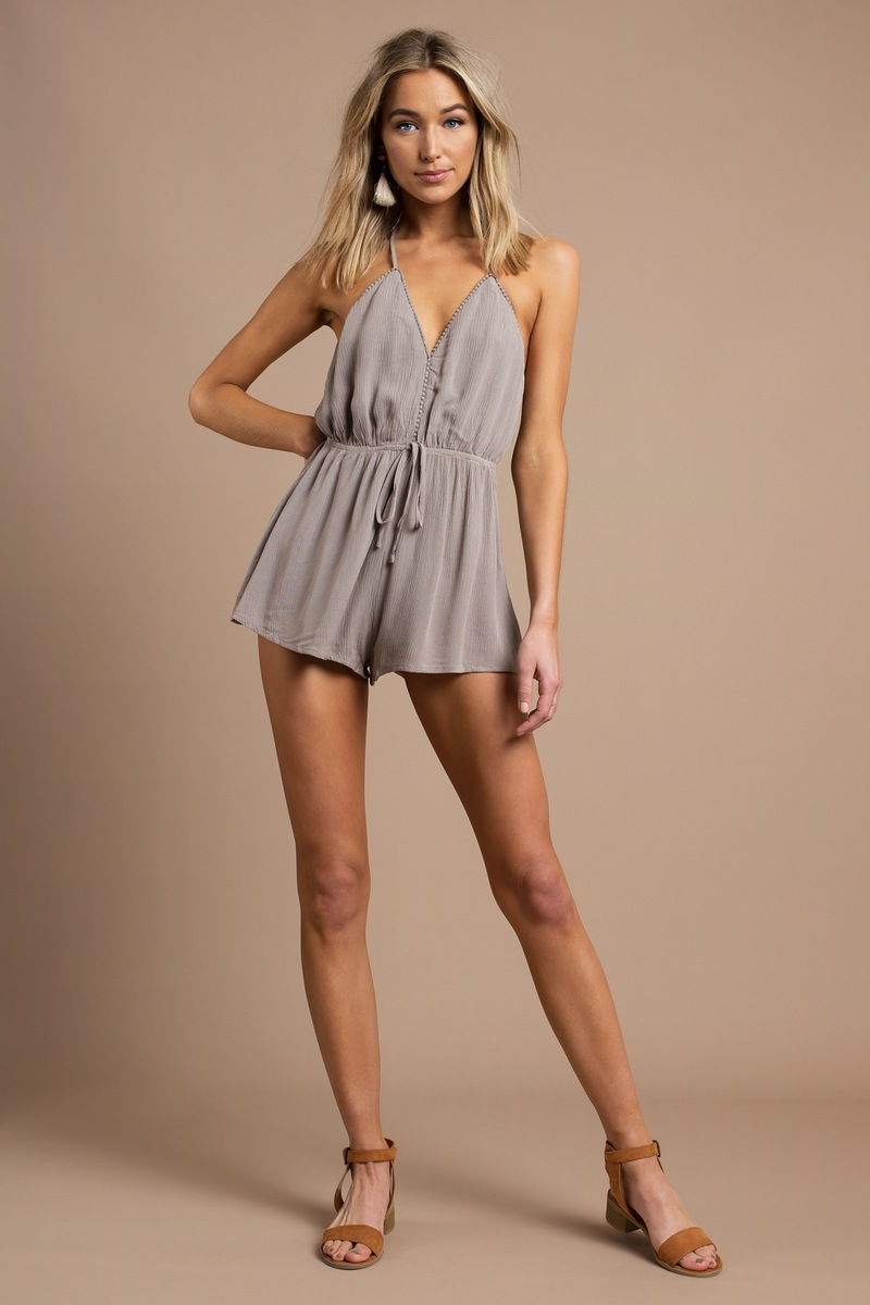 c32157e9ee8 Sexy Taupe Romper - Deep V Romper - Front Tie Romper - Taupe Romper ...