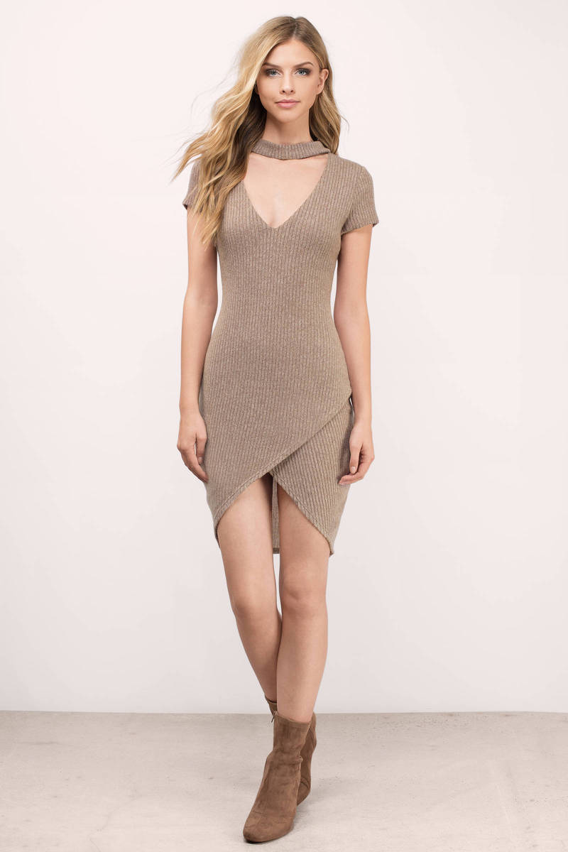 Bad Habits Taupe Metallic Ribbed Bodycon Dress