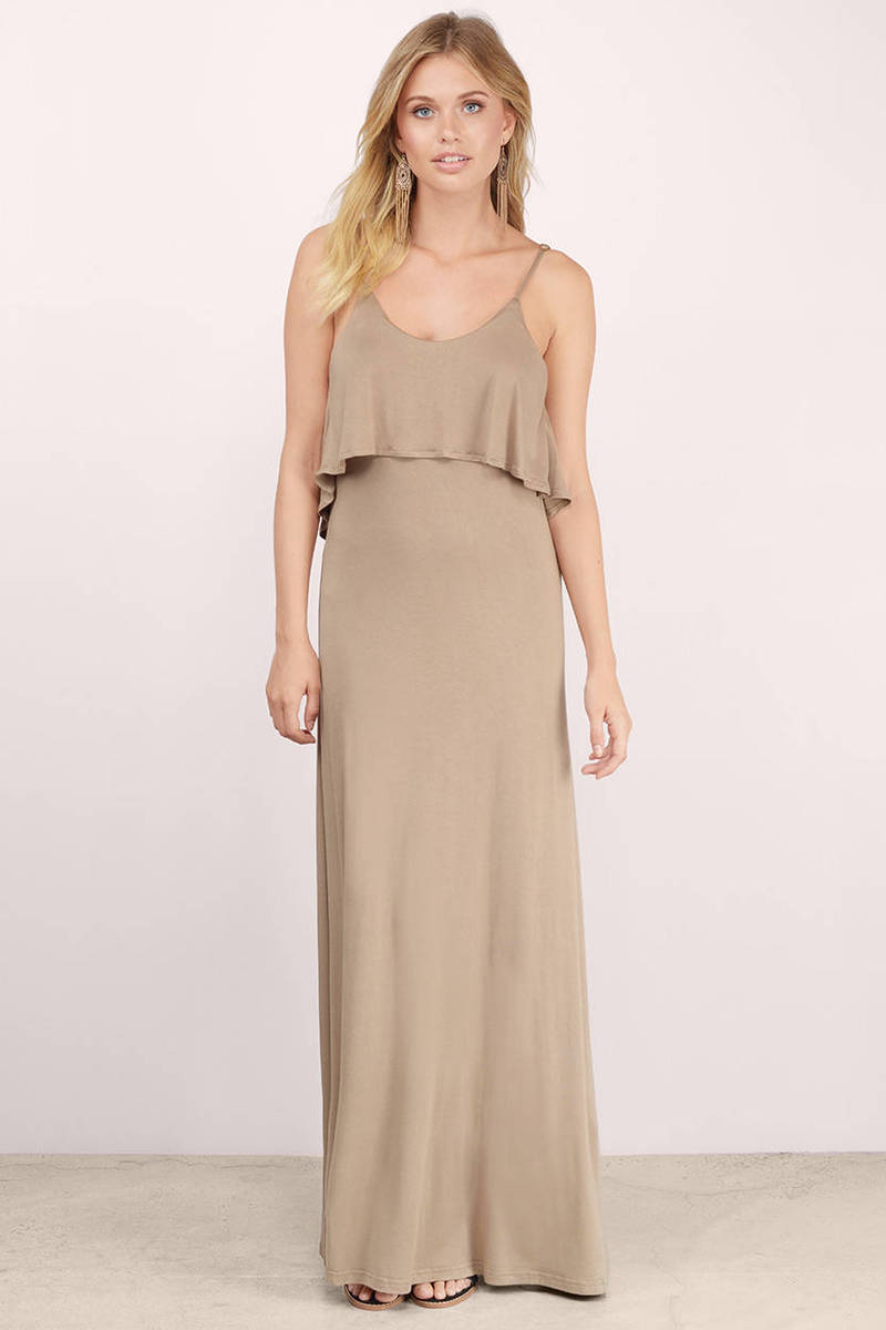 Sexy Taupe Maxi Dress - Low Back Dress - Brown Dress - Maxi Dress ...