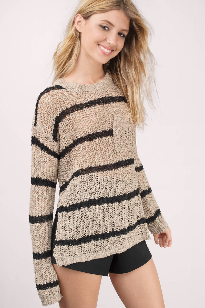 Taupe & Black Sweater - Brown Sweater - Navy Stripe Sweater - $13 ...