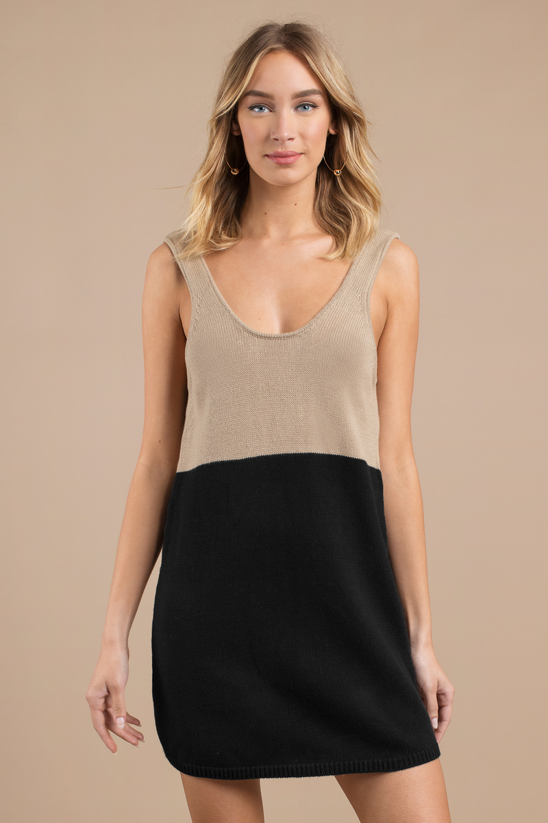 Don't Look Back Toast & Olive Sweater Dress