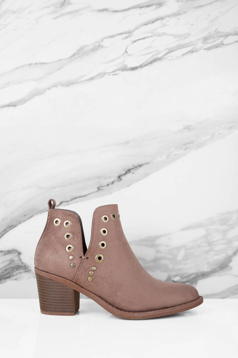 Brooke Taupe Leather Ankle Boots