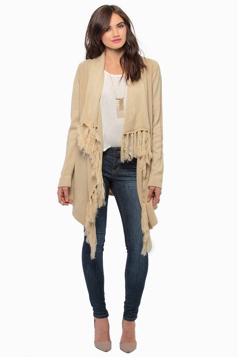 Cheap Taupe Cardigan - Open Front Cardigan - $25.00
