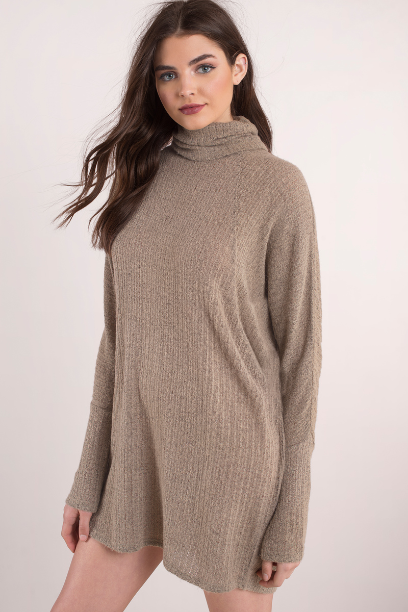 Taupe Sweater - Turtleneck Sweater - Draped Sweater - Tunic Top ...