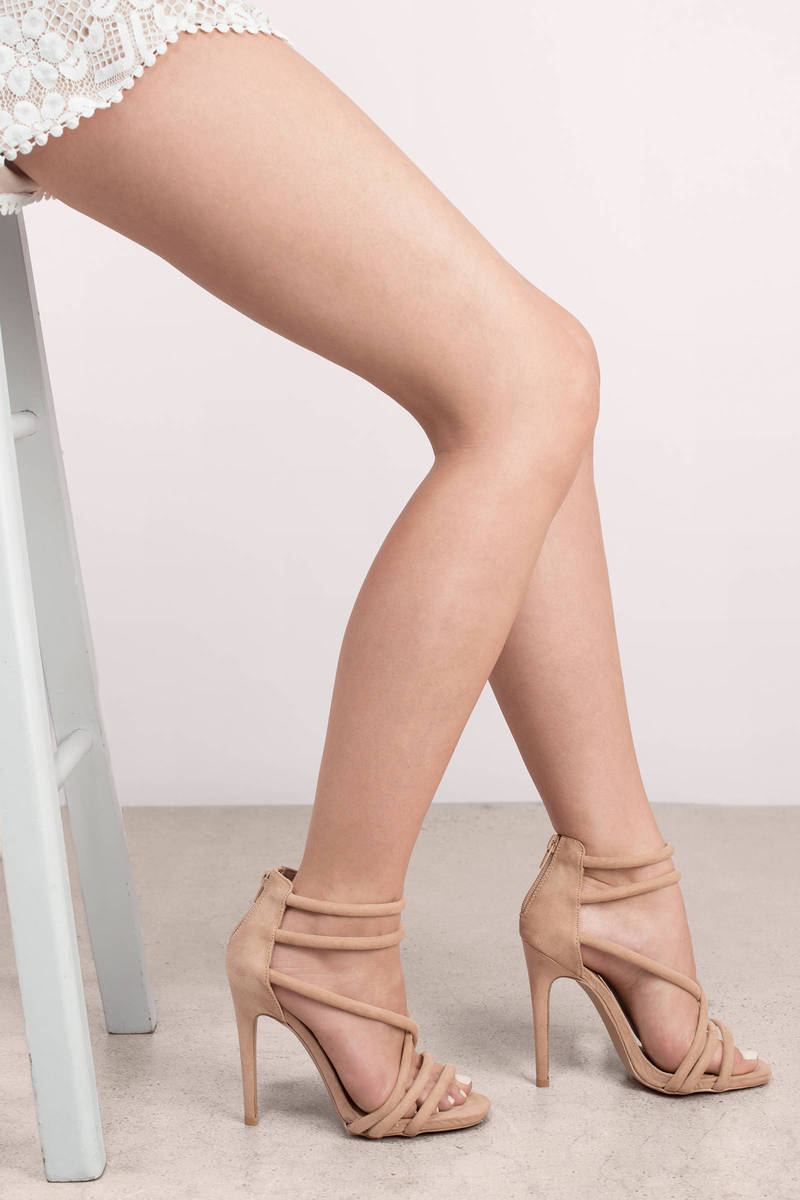 4c873b9e534b Cute Taupe Heels - Open Toe Heels - Strappy Heels - Multi Strap ...