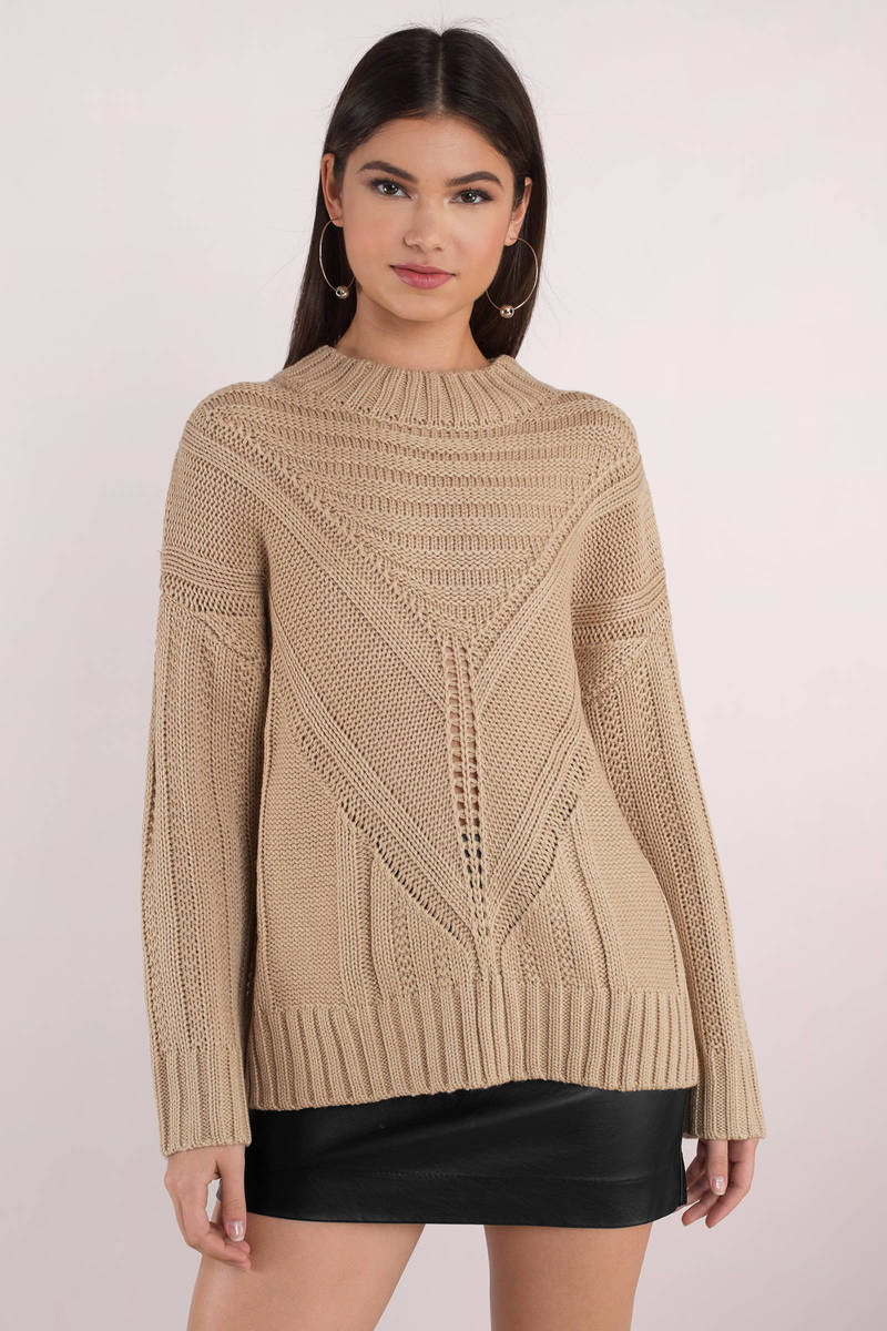Moon River Easy Days Taupe Knitted Sweater 38 Tobi Us