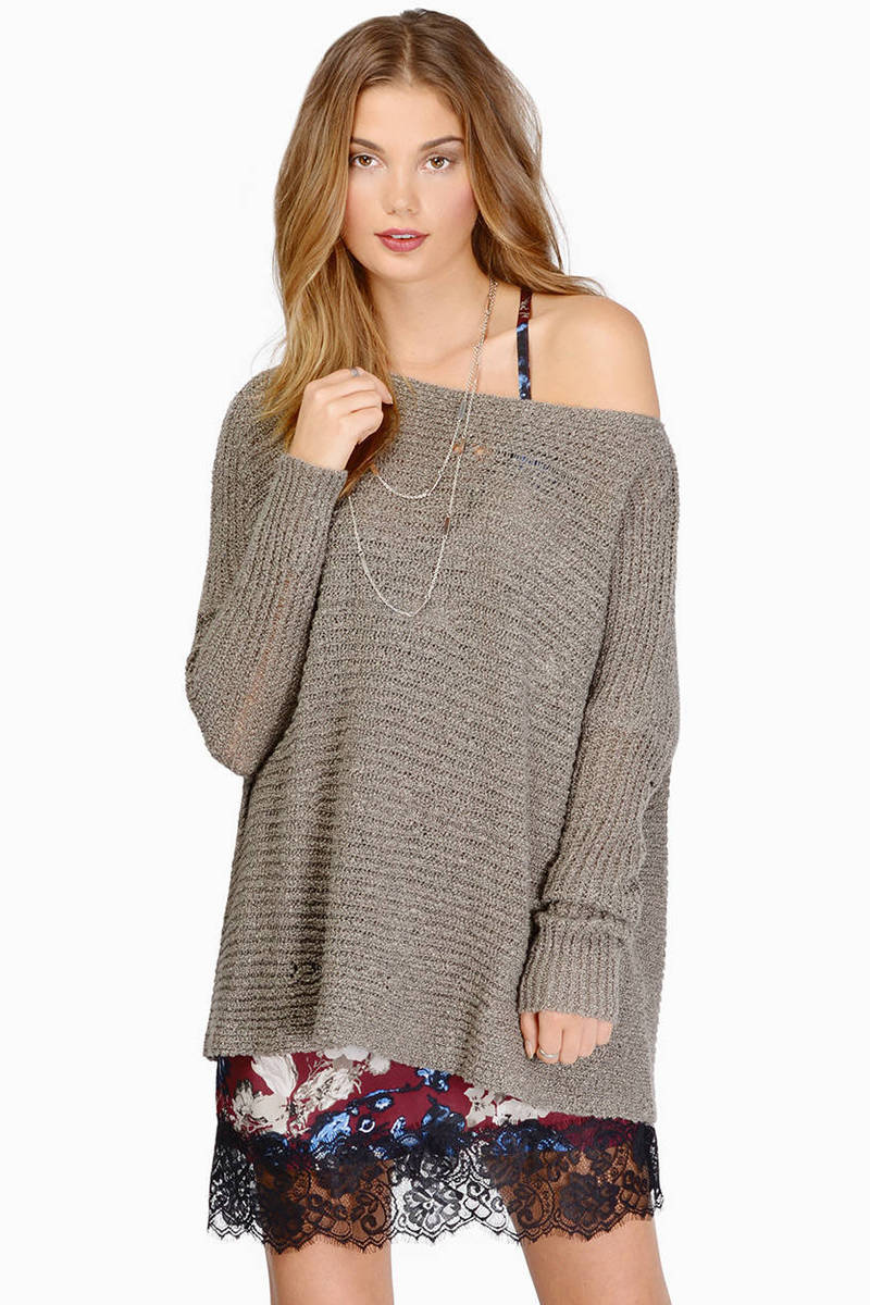 Getting Knitty Taupe Sweater