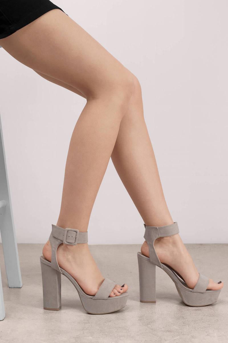 a5cf0f13b76a0 Cute Beige Platform Heels - Suede Heels - Ankle Strap Heels - $37 ...