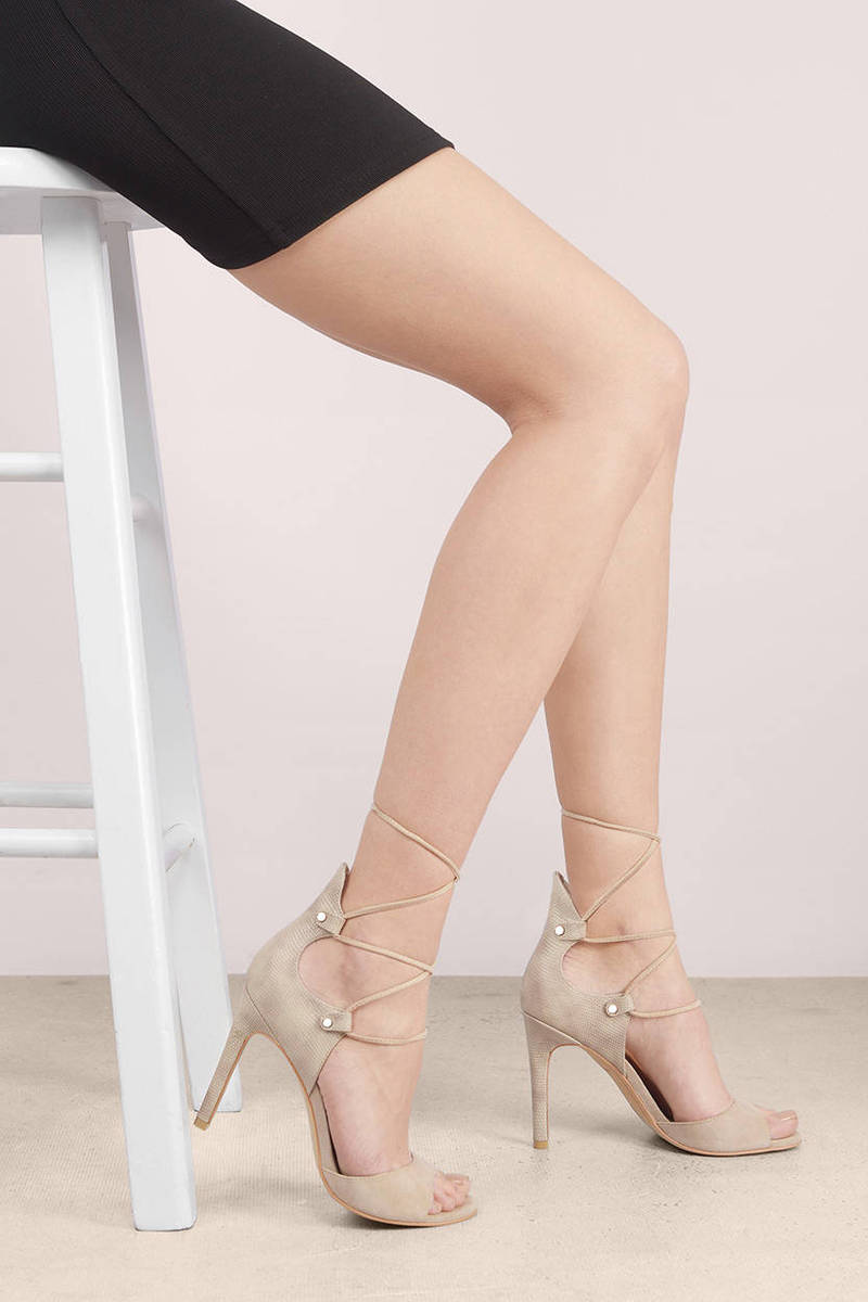 954c3ea2a9a Trendy Taupe Heels - Brown Heels - Lace Up Heels - Taupe Heels -  60 ...