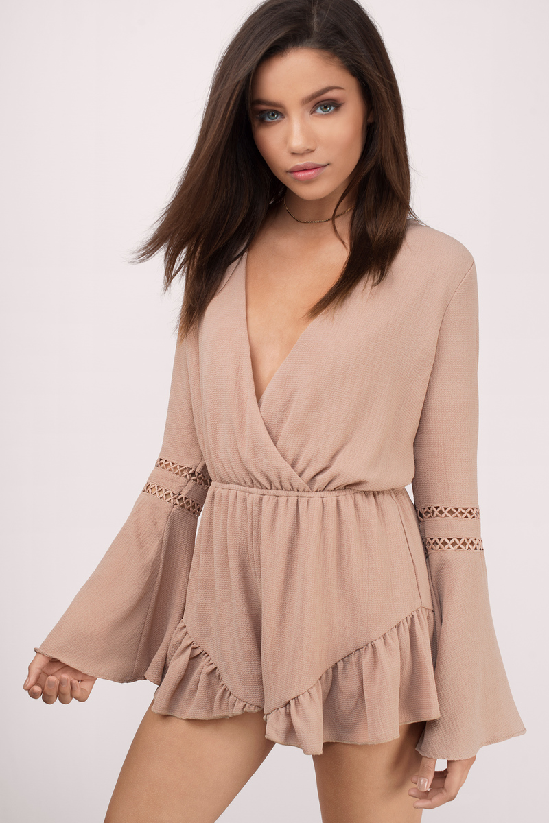 I'll Be There Taupe Chiffon Romper
