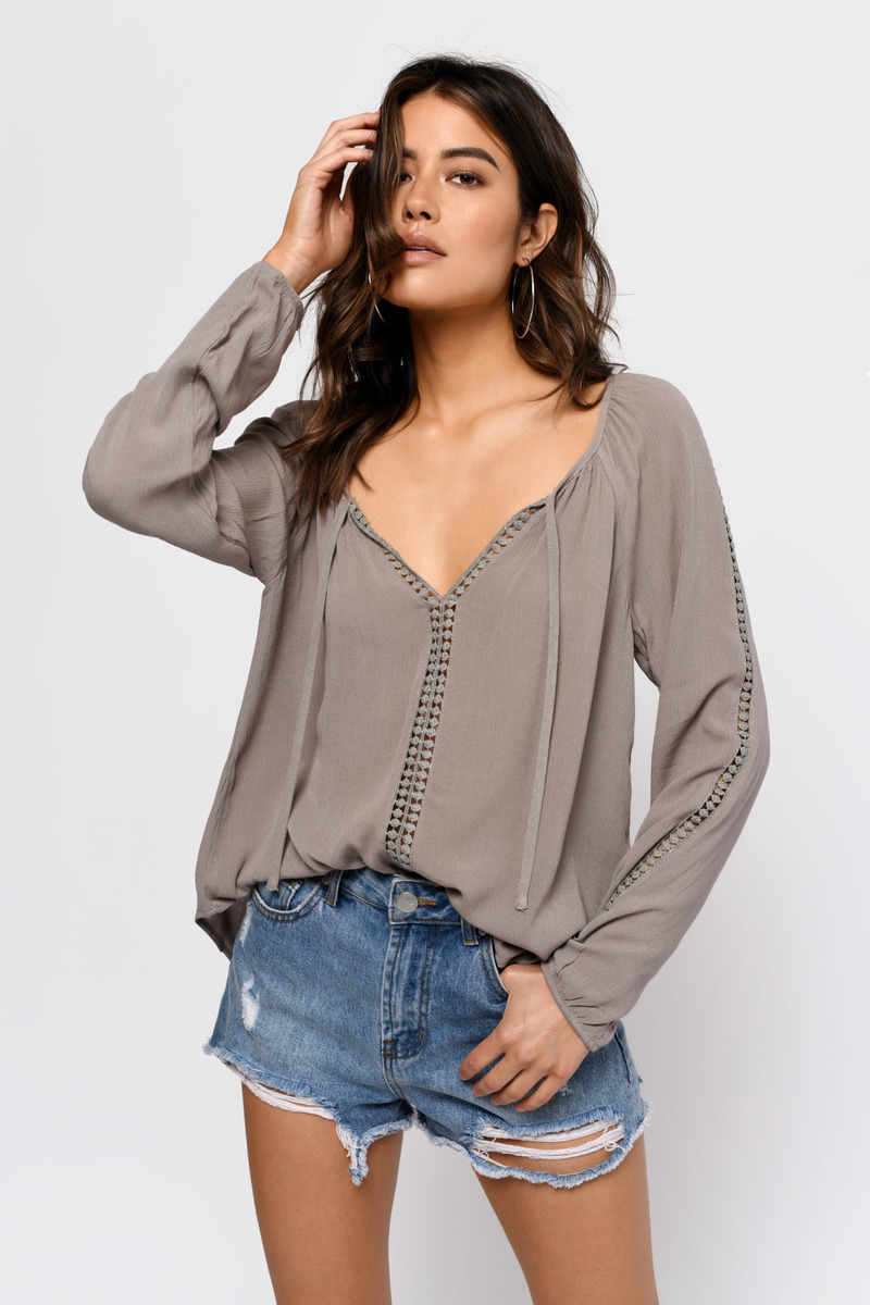 Irene Taupe Blouse
