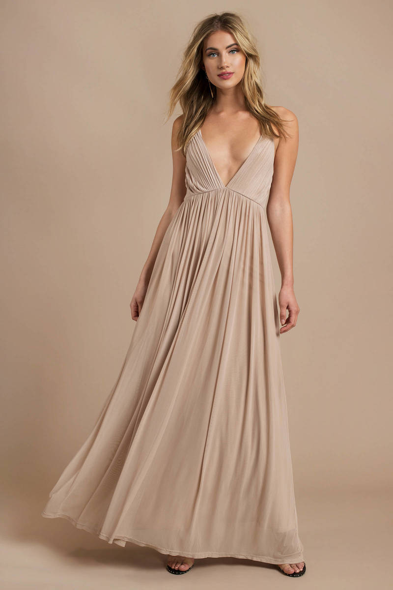 83e0eecc929 Beige Maxi Dress - Plunging Maxi Dress - Elegant Champagne Dress ...