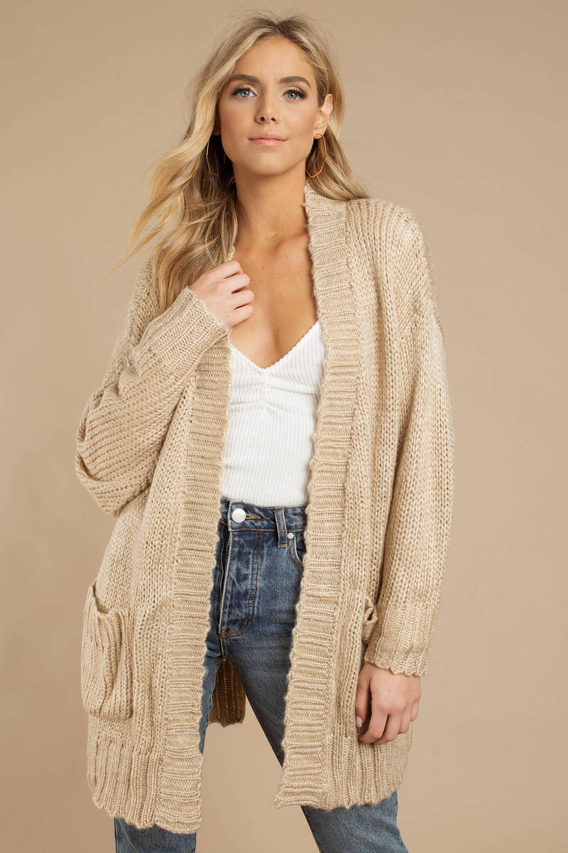 ec2bcaa7a4 Beige Cardigan - Chunky Knit Cardigan - Beige Cable Knit Cardigan ...