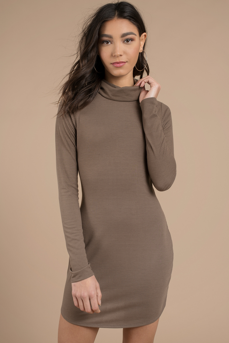 53864ea44 Cute Taupe Bodycon Dress - Turtleneck Dress - Bodycon Dress -  10 ...