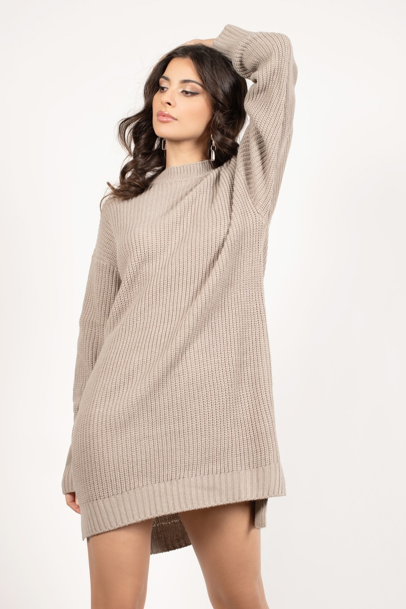 edf738f78c Brown Casual Dress - Sweater Dress - Brown Mock Neck Dress -  32 ...