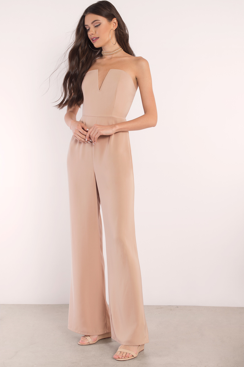 99dad8f95784 Chic Taupe Jumpsuit - Deep V Jumpsuit - Jumpsuit - Taupe Jumpsuit ...