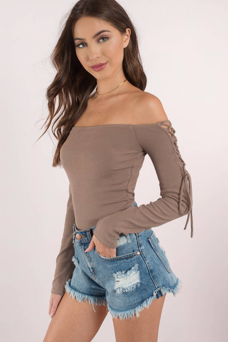 9442cee084 Cute Taupe Bodysuit - Lace Up Sleeves - Long Sleeve Bodysuit -  21 ...