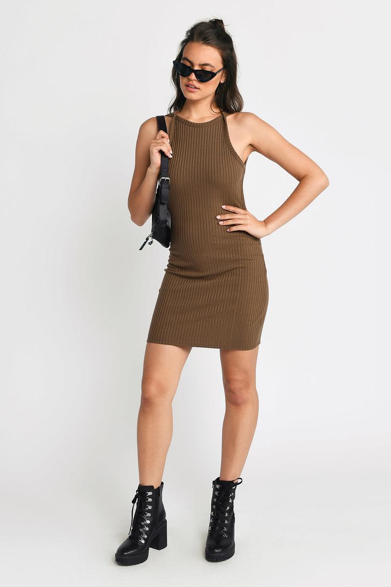 Sexy Taupe Bodycon Dress - Open Back Dress - Bodycon Dress -  23 ... 490260730
