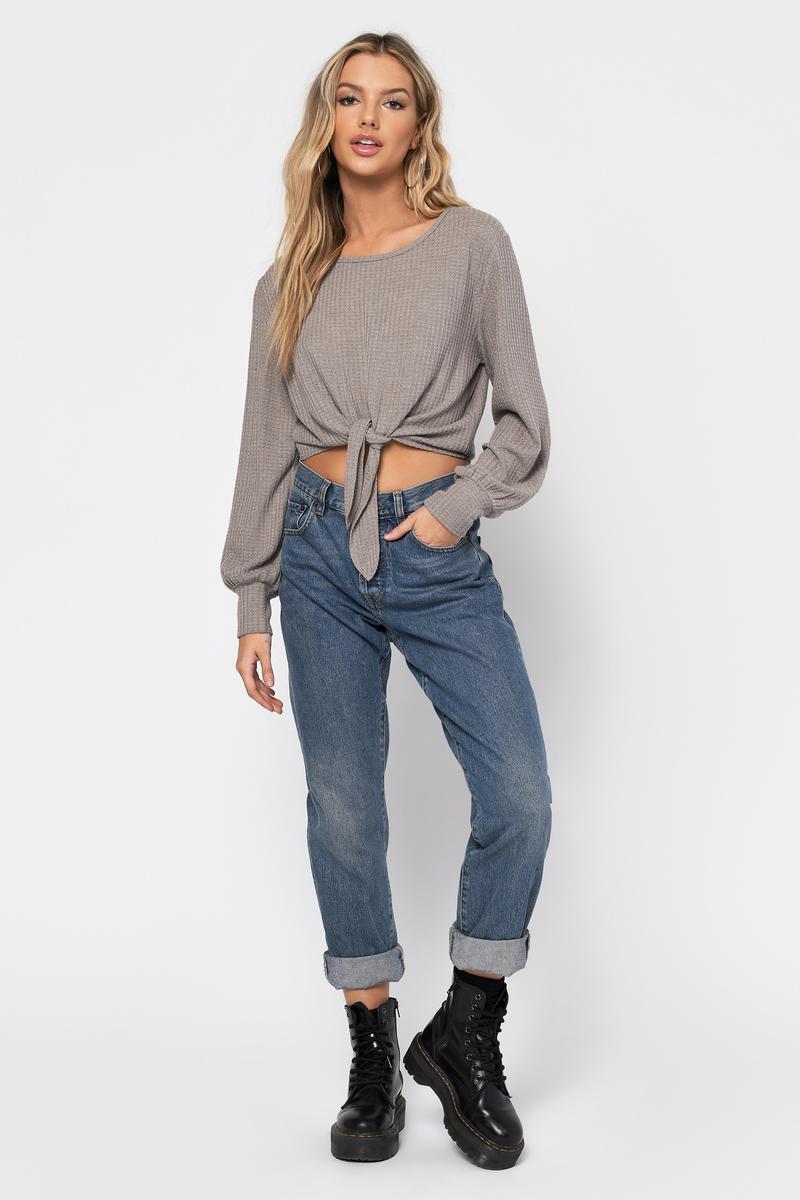 5f413118ef1c Beige Knit Top - Long Sleeve Front Knot Shirt - Beige Waffle Knit ...