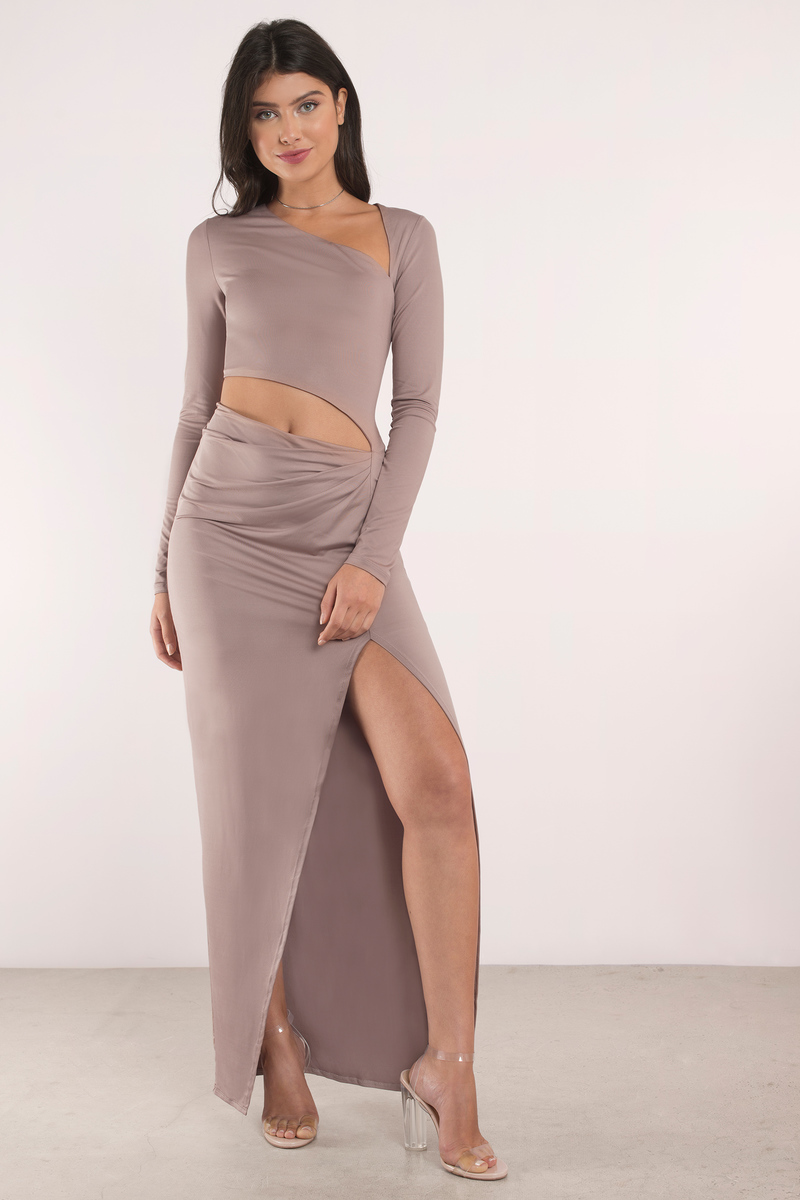 Sexy Taupe Maxi Dress - Cut Out Dress - Brown Dress - Maxi Dress - $68