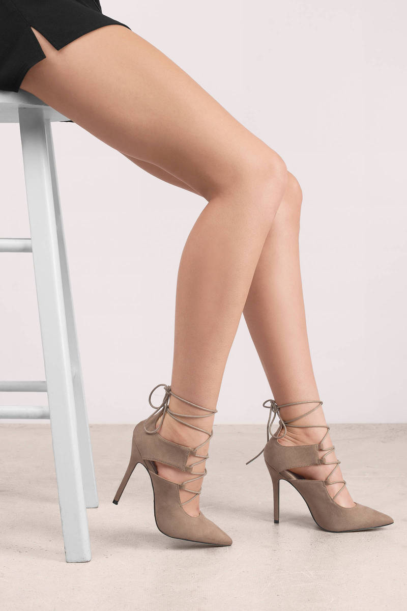 f27d056924ca Trendy Taupe Heels - Lace Up Heels - Suede Heels - Pointed Toe Heels ...
