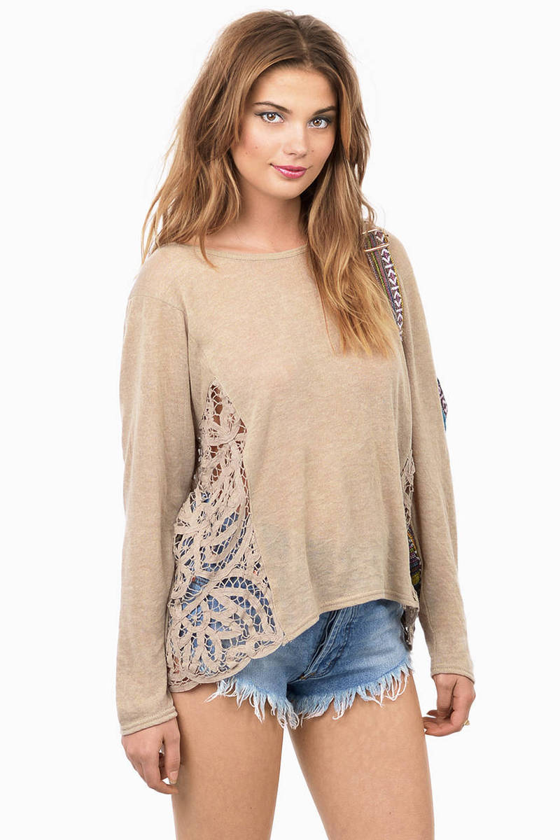 Make Believe Taupe Crochet Top