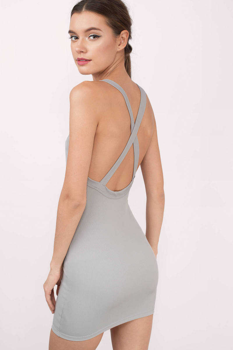 Taupe Bodycon Dress - Grey Dress - Criss Cross Dress - Taupe Bodycon ... 67d0ea0adb61