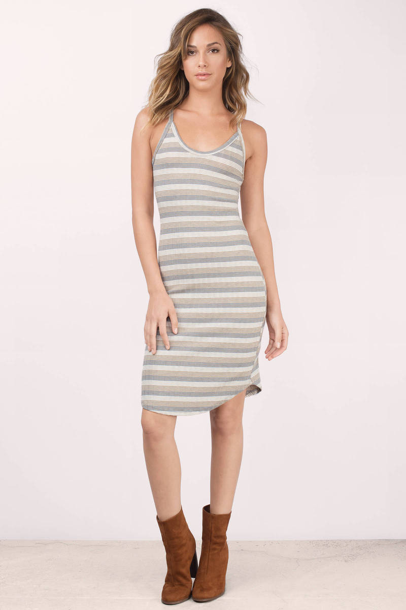 Clover Taupe Multi Striped Bodycon Dress