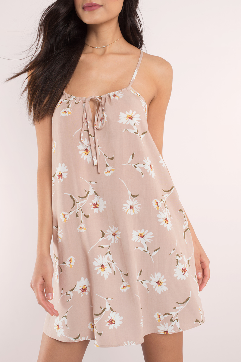 Karina Taupe Multi Floral Print Shift Dress