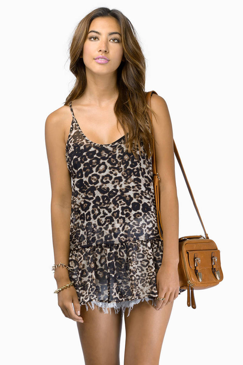 Now And Forever Taupe Multi Leopard Print Tank Top