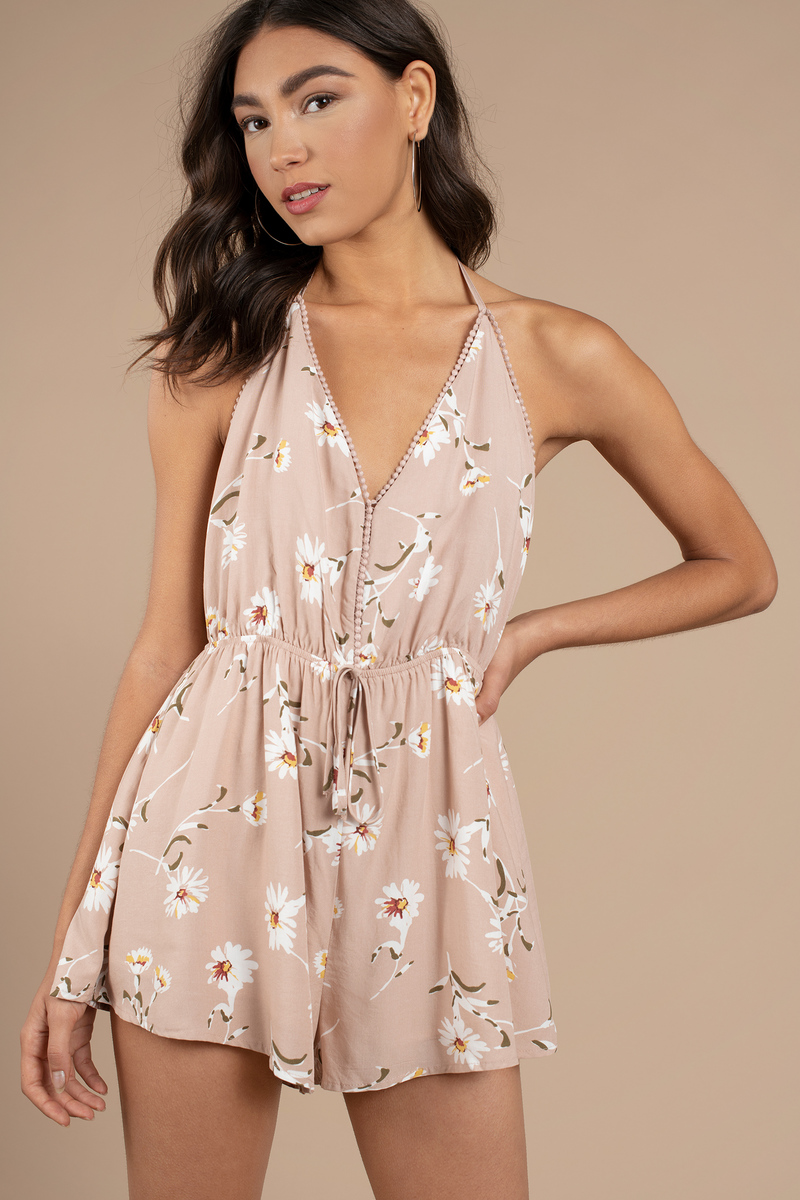 Nyla Taupe Multi Floral Print Romper