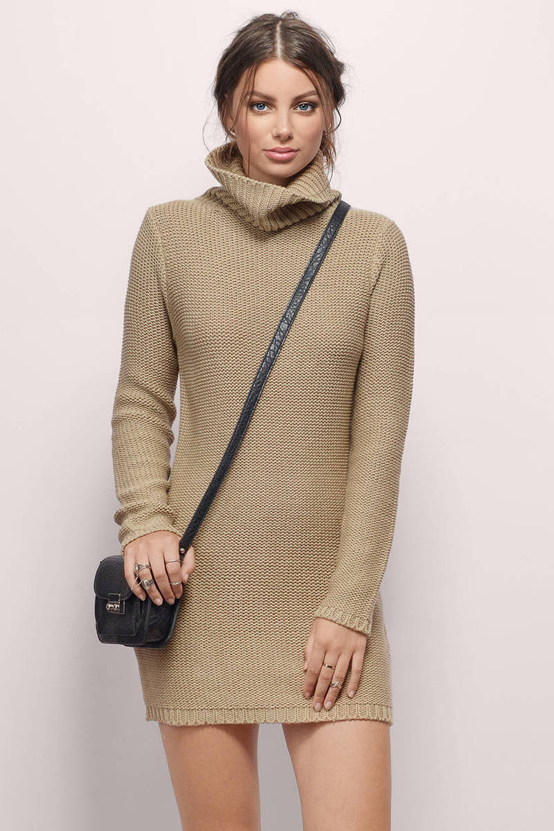Taupe Sweater Dress - Turtleneck Dress - Taupe Knit Day ...