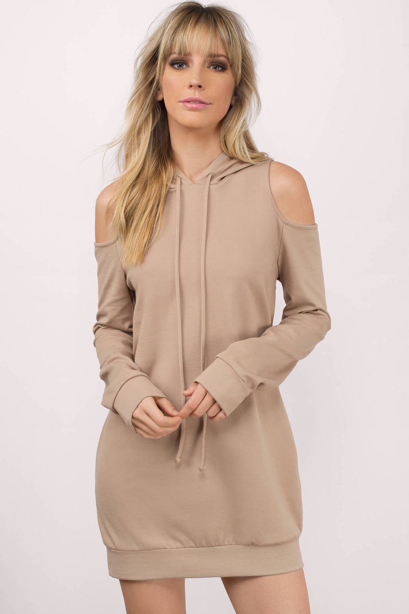 Nicki Taupe Sweatshirt Dress
